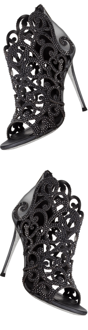 Rene Caovilla Laser Cut Ankle Boots with Crystals