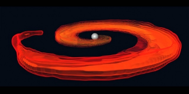 Numerical simulation of the last instances of a neutron star and black hole merger, as the neutron star is destroyed by the tidal pull of the black hole (at the center of the disk).  Image: A. Tonita, L. Rezzolla, F. Pannarale