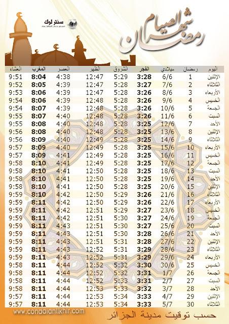 امساكية شهر رمضان 2016 - 1437 في جميع مدينة الجزائر