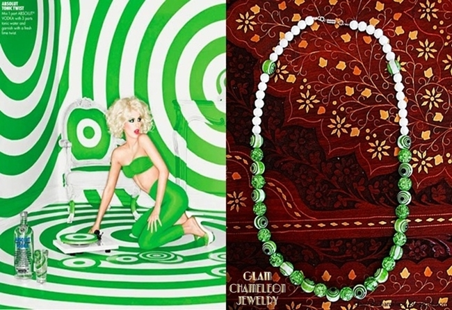 Glam Chameleon Jewelry green and white glass beads necklace