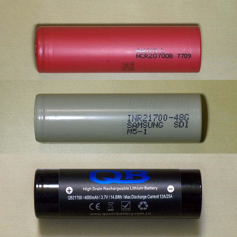 Sanyo NCR20700B, Samsung INR21700-48G and Queen Battery QB21700