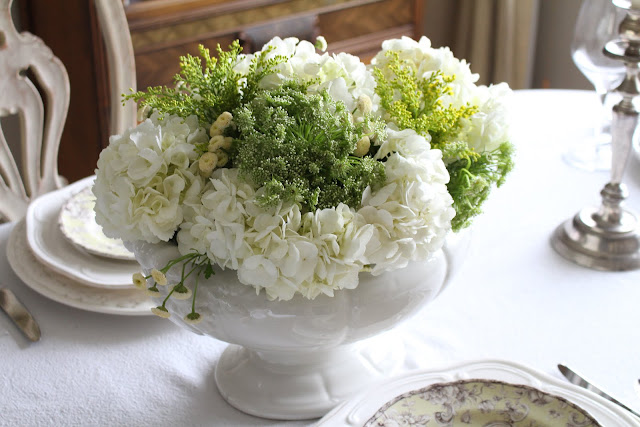 spring floral tablescape green and white hydrangeas centerpiece white ironstone tureen