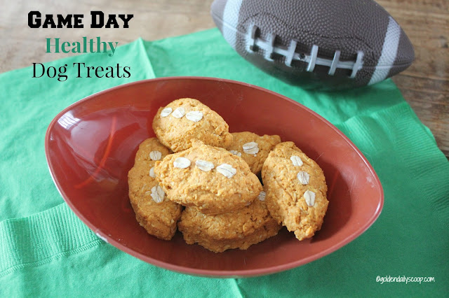 healthy diy football shaped dog treats for Super Bowl Sunday