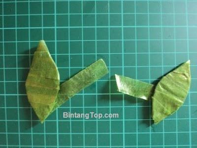membuat daun dengan sealtape daun hijau