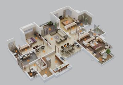 70+ Denah 3D Rumah Minimalis 3 Kamar Tidur