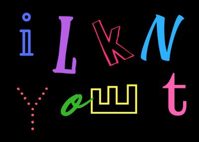 Aparecen los nombres de Elky y Toni usando distintas fuentes de letras.