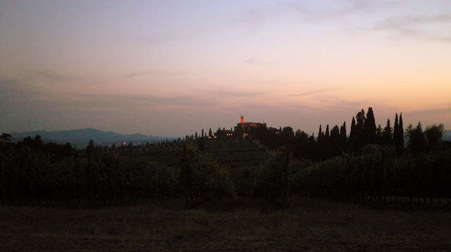 Banfi vintners' Castello Banfi (also known as Castello Poggio alle Mura) at sunset