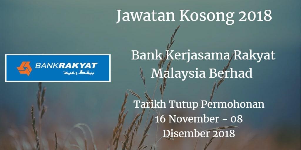 Jawatan Kosong Bank Kerjasama Rakyat Malaysia Berhad 16 November - 08 Disember 018