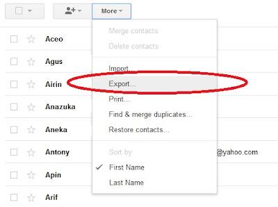 cara memindahkan daftar kontak google