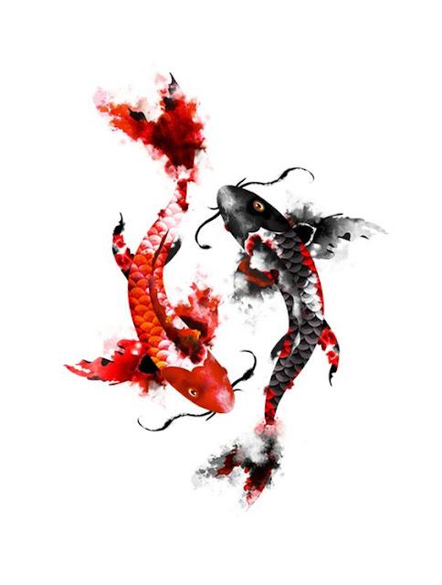 Watercolor Koi Fish Tattoos For Women