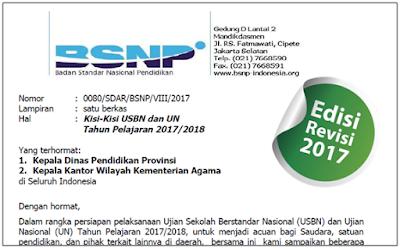 Download Kisi-Kisi UN 2018 SMP MTs SMA MA SMK MAK