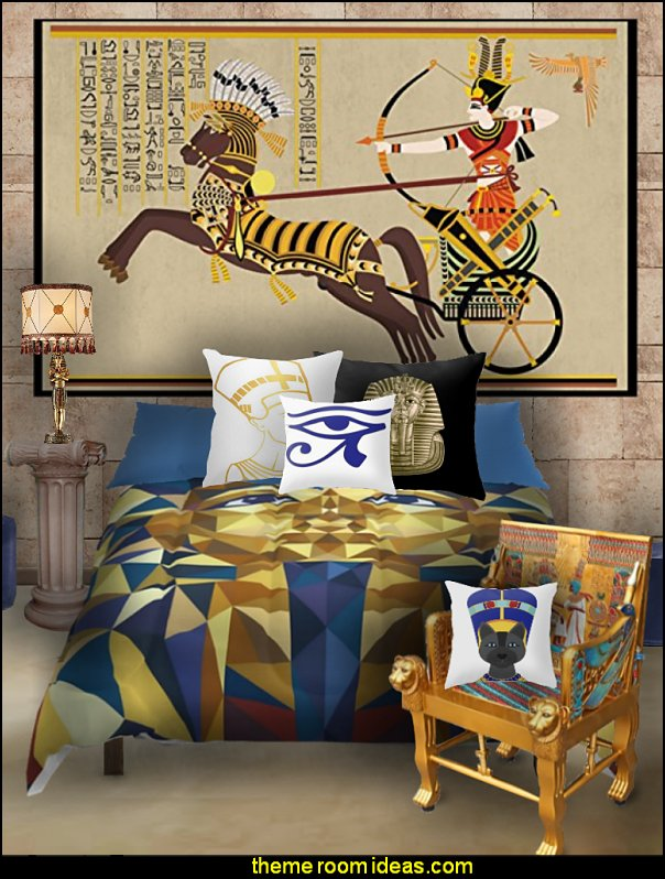 egyptian bedding  egyptian beddrooms egyptian murals