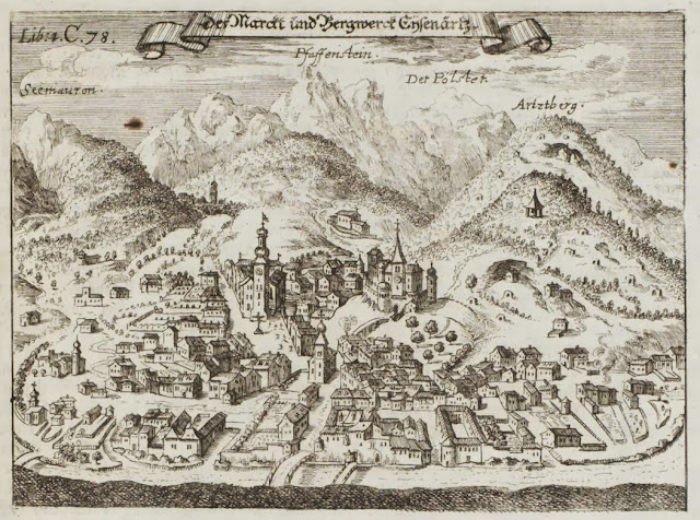 17th century engraving of rural village in Austria (Eisenerz)