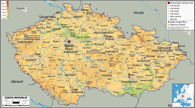 Mapa da República Checa e localização de Karlovy Vary