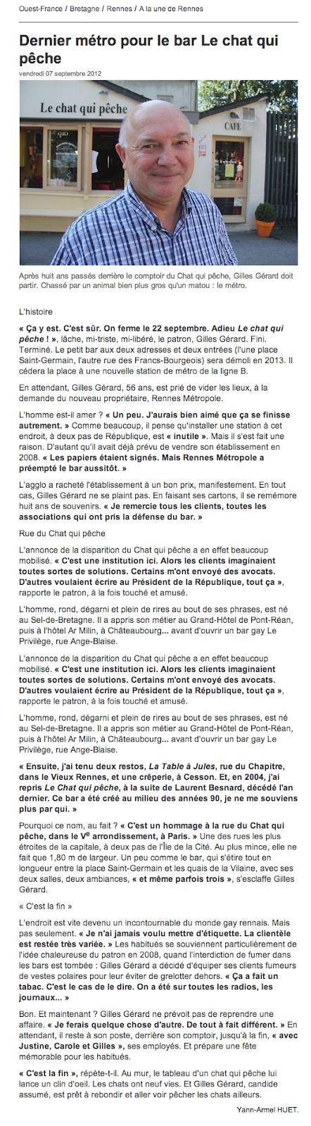 « Dernier métro pour le bar le Chat qui Pêche » Article de Ouest-France du 07 Septembre 2012