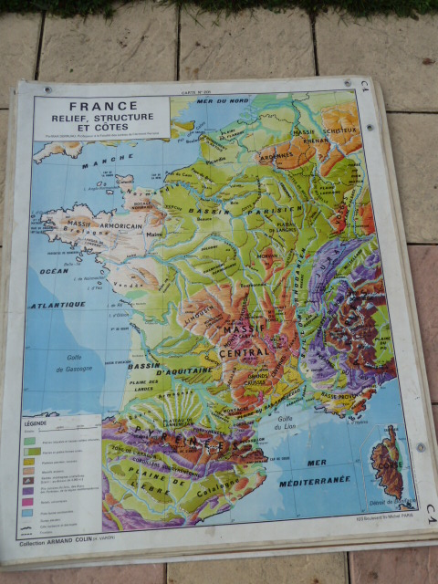 Map Of France With Mountains.Vintage French Posters Botany Animals Anatomy Old World Maps From