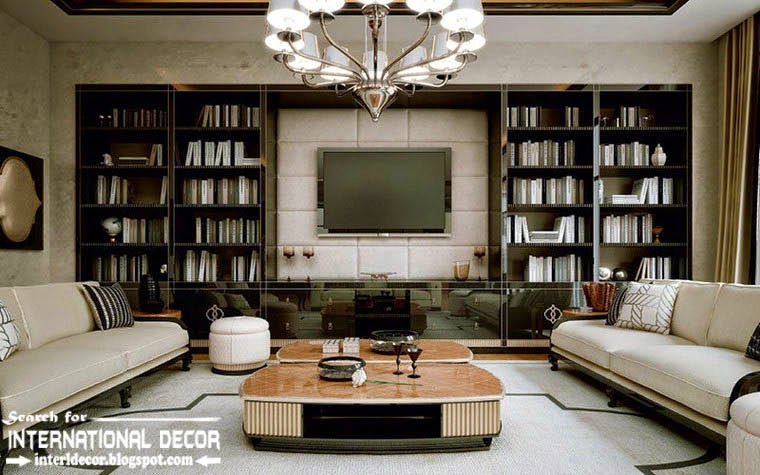 Stylish Art Deco interior design style and furniture with TV wall library