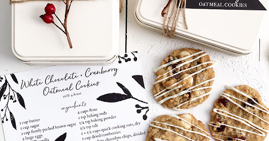 RECIPE + GIFT IDEA | White Chocolate + Cranberry Oatmeal Cookies