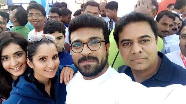 Ramcharan, KTR, Sania mirza, rashi khanna at 10k run