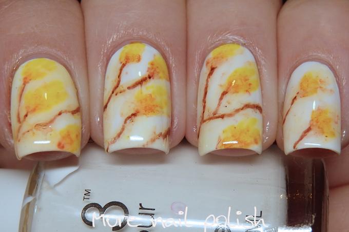 Orange water colour nail art ~ More Nail Polish
