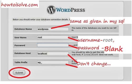Wordpress installation Guide on locally step for sql connectivity