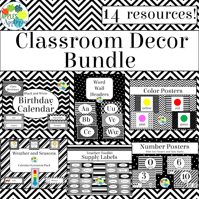 This black and white classroom decor is perfect for when you don't have access to a color printer, but still want a cute room! | Apples to Applique