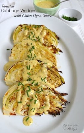 ROASTED CABBAGE WEDGES RECIPE WITH ONION DIJON SAUCE
