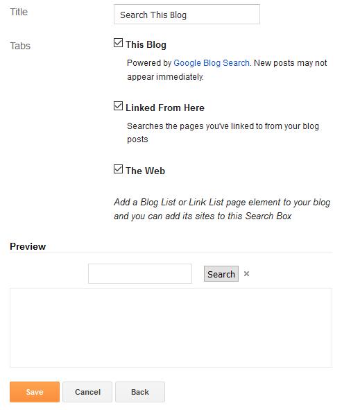 search box configuration
