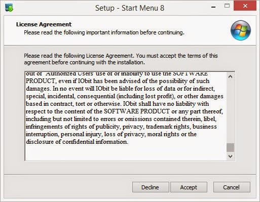 ขั้นที่ 3 อ่านข้อตกลงในการใช้งานโปรแกรมเปลี่ยน Start Menu บน Windows 8.1