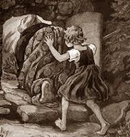 Gretel mete a la bruja en el horno