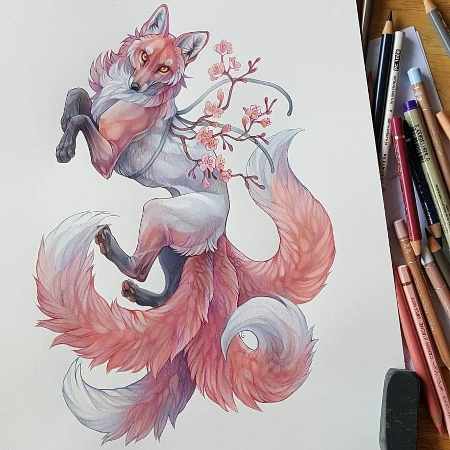 05-Sakura-Fox-Grace-Fantasy-Animals-Colored-Pencils-Drawings-www-designstack-co