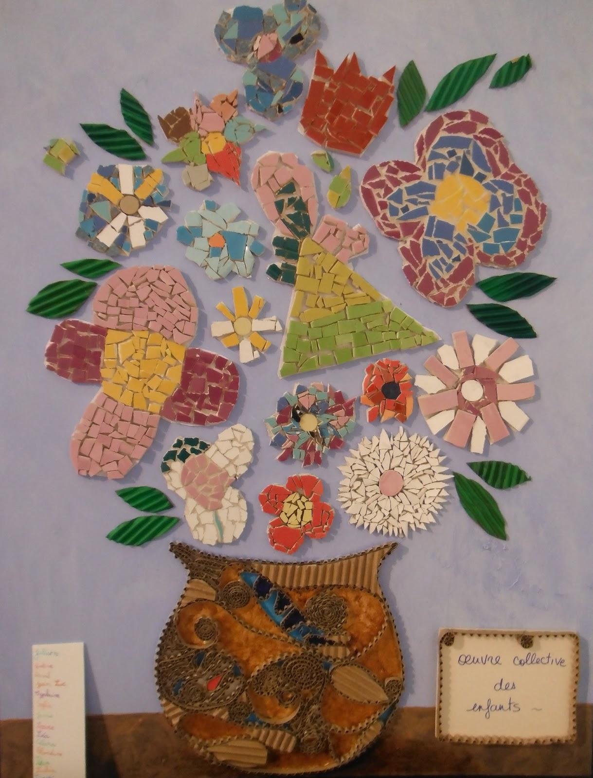 s verine peugniez cr ations cr ation d 39 un bouquet de fleurs en mosa que par les enfants de mon. Black Bedroom Furniture Sets. Home Design Ideas