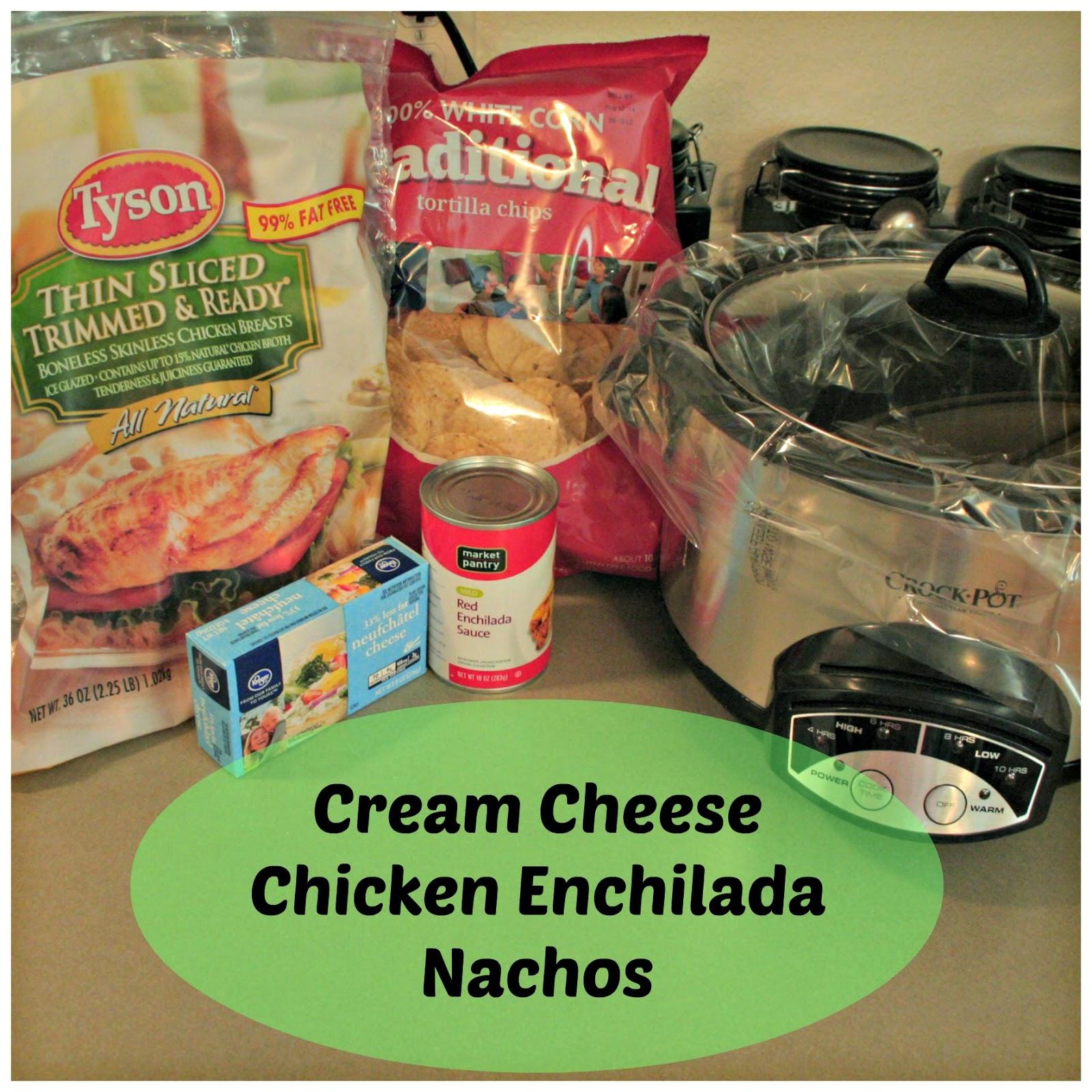 Cream cheese chicken enchilada nachos, Slow cooker cream cheese Chicken Enchilada nachos, Chicken enchilada nachos in crock pot, easy enchilada recipe, slow cooker enchilada recipe, crock pot enchilada recipe.