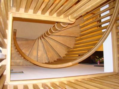 Gorgeous Narrow Diameter Wooden Spiral Staircase