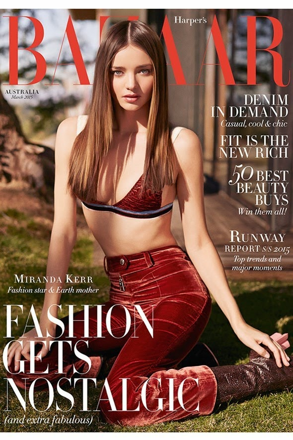 Miranda Kerr in a 70s inspired look for the Harper's Bazaar March 2015 cover