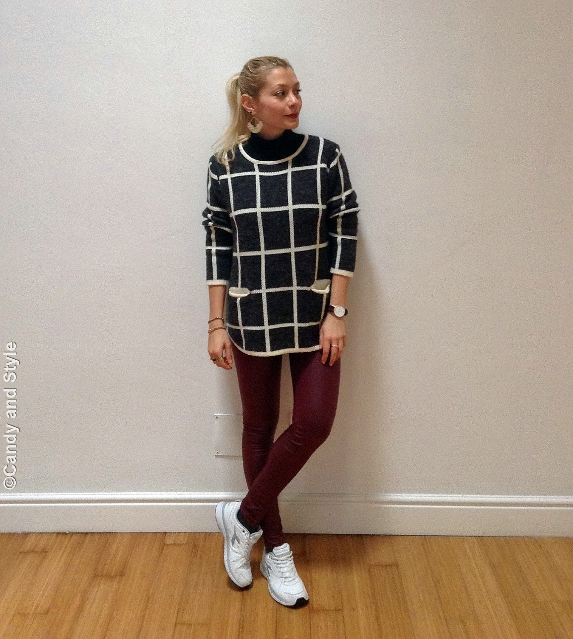 CheckedSweater+BurgundyLeggings+WhiteTrainers+HighPonytail+BerryLips - Lilli Candy and Style Fashion Blog