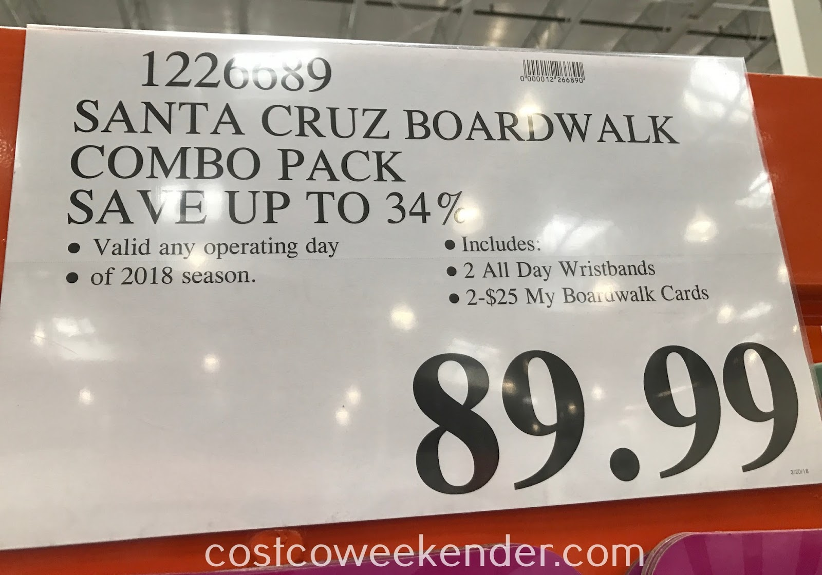 Deal for the Santa Cruz Beach Boardwalk 2018 Combo Pack at Costco
