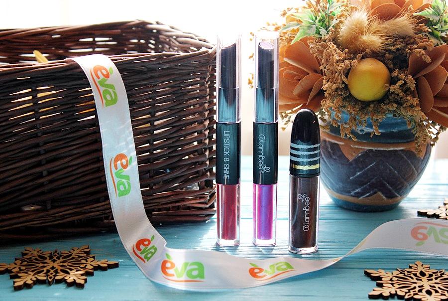 Линия магазинов EVA представляет: ТМ GlamBee Помада-блеск для губ #04 и #07 и Блеск для губ Melal Shine #04 / обзор, отзывы