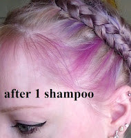faded pink purple blue hair dye blonde hair blue eyes earrings braid updo milk maid