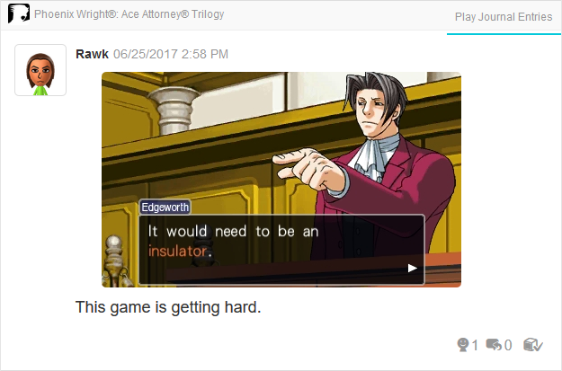 Miles Edgeworth insulator Phoenix Wright Ace Attorney Trilogy 3DS Miiverse Capcom Nintendo