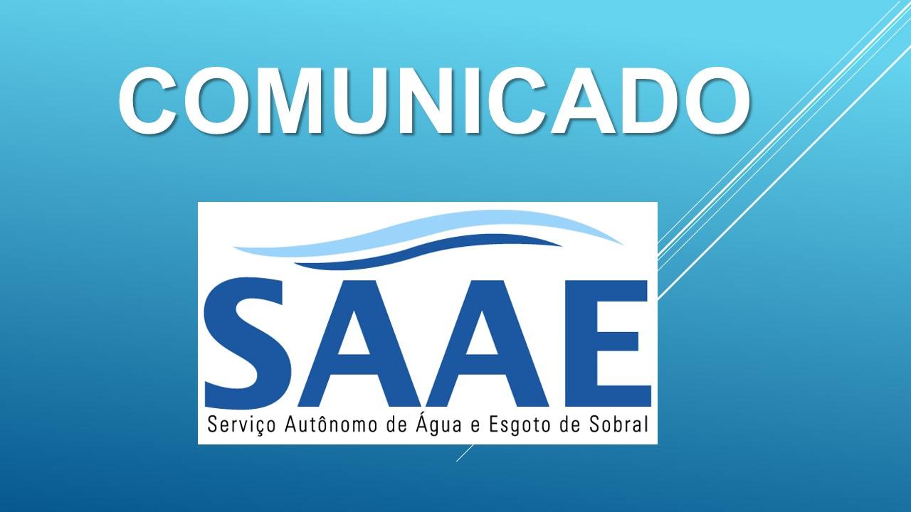 Resultado de imagem para COMUNICADO SAAE | Interrupção parcial no tratamento e distribuição de água
