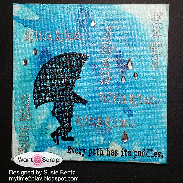 I started my canvas with an Ultramarine Blue Color Burst watercolor  background. The cute little umbrella image is from the Sparkle N Sprinkle  Splish Splash ... 633c60eae132