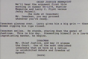 A page from the screenplay for THE PEOPLE vs. LARRY FLYNT by Scott Alexander and Larry Karaszewski