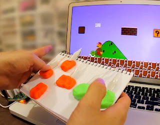 Running Mario game with modeling clay keyboard