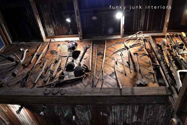 Antique garden and farm tools decorate the herringbone wood walls. Welcome to a full blown tour of the inside of Mission Springs Brewing Company, a junk-filled pub and restaurant filled with antiques and salvage architecture you will not believe!