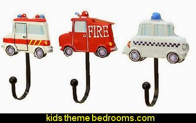 Creative Decorative Hooks transportation  transportation theme bedroom decorating ideas - Planes, trains, cars and trucks decor - transportation bedroom ideas -  transportation vehicles theme bedrooms - tire throw pillows - cars trucks wall decals - transportation bedding - police cars - polce bedding - heroes bedding