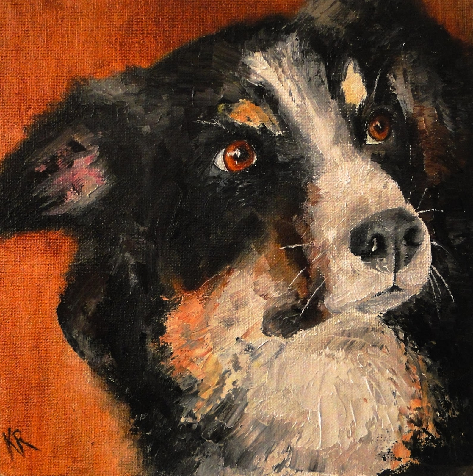 Oil painting of a border collie, palette knife painting, a pet portrait by Karen, Devon, UK