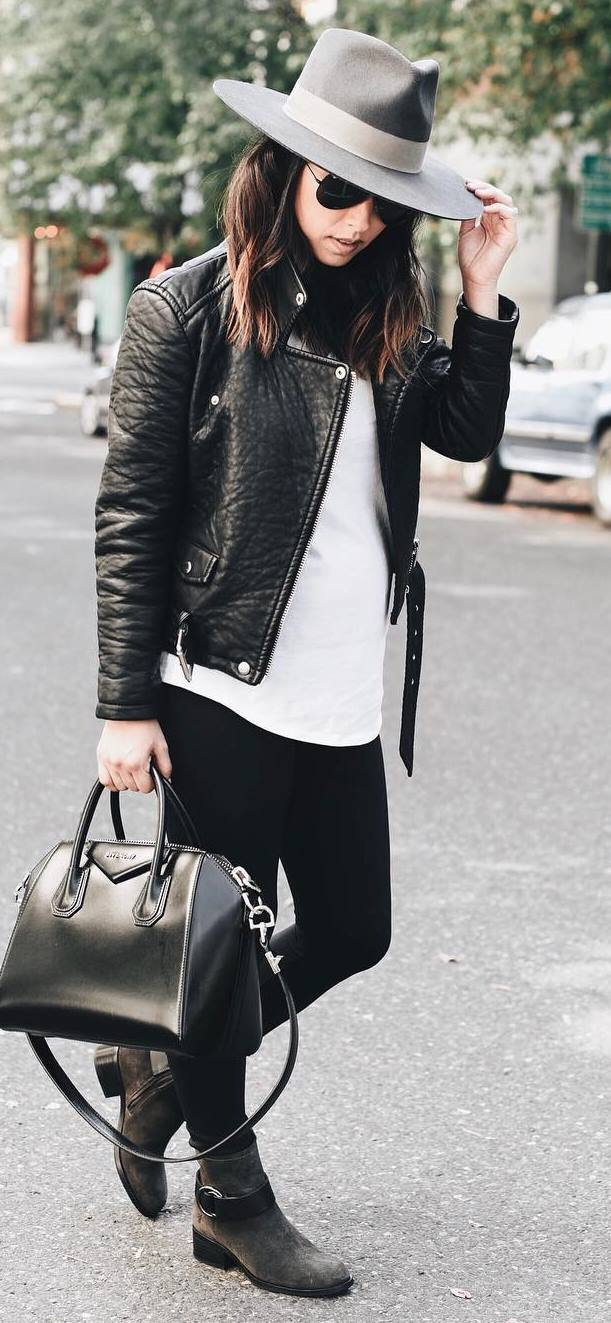 street style addiction / hat + moto jacket + top + bag + skinnies + boots