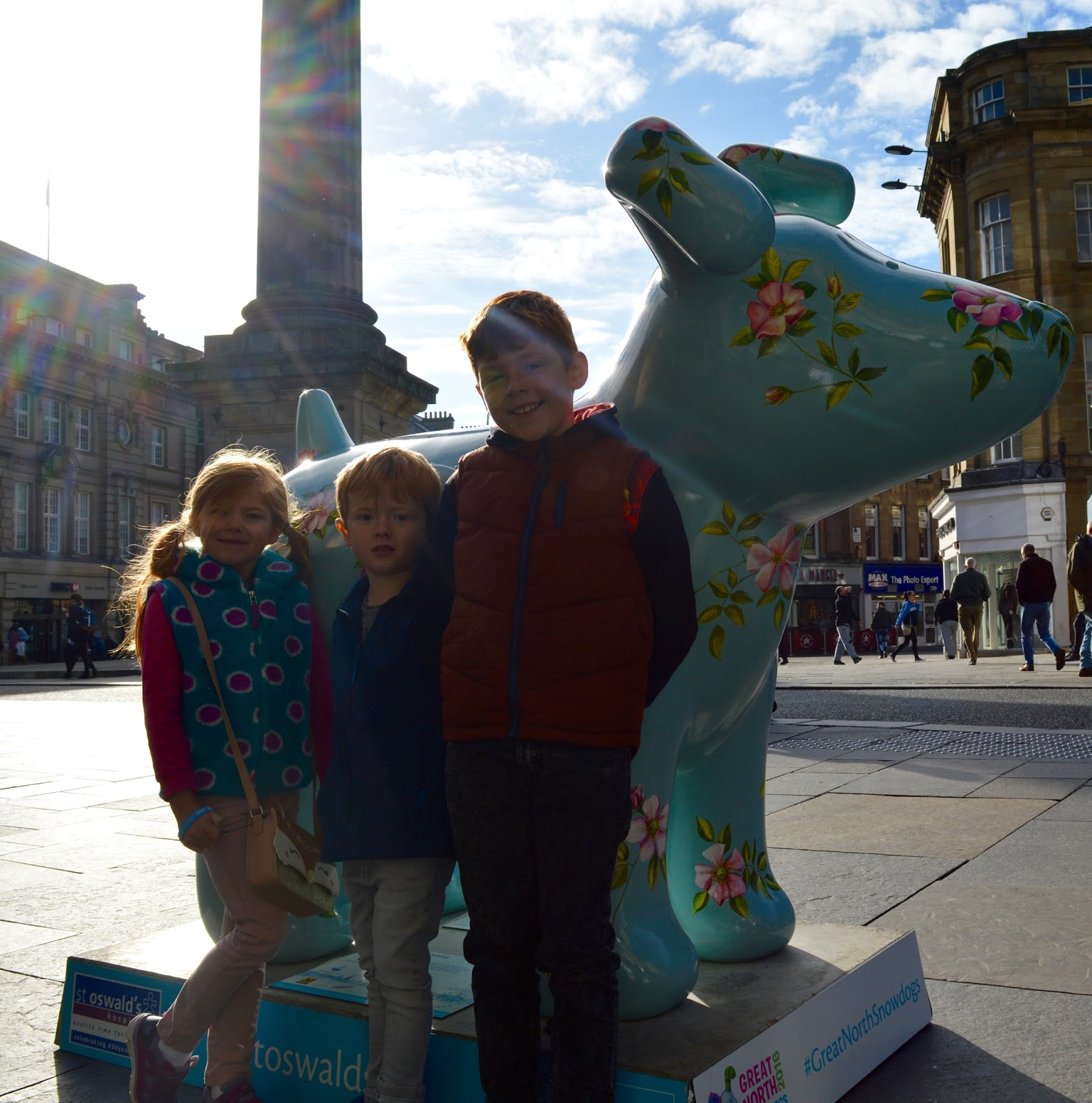 Explore the Great North Snowdogs with Tyne & Wear Metro  - Rosa Canina on Blackett Street - sponsored by the Botanist
