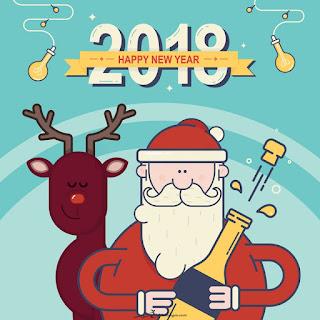بطاقات تهنئة بابا نويل 2018 راس السنة